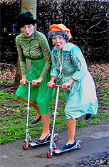 The hilarious supergrans cause havoc whizzing around on their scooters.