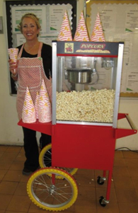 Candy Floss and Popcorn machines available for hire, or staffed so that you can enjoy the party too