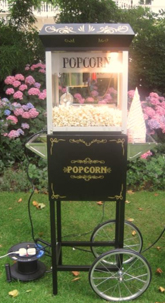 We now have classic black Popcorn machines with matching carts